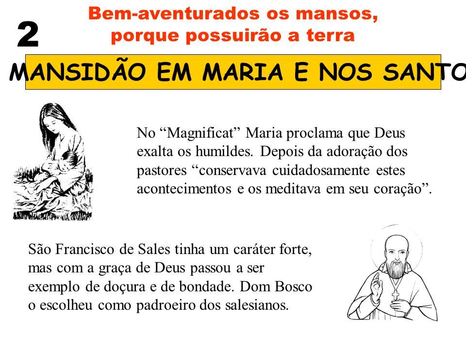 2 Bem-aventurados os mansos, porque possuirão a terra A MANSIDÃO EM MARIA E NOS SANTOS No Magnificat Maria proclama que Deus exalta os humildes. Depoi
