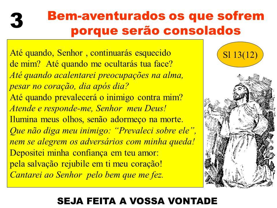 3 Bem-aventurados os que sofrem porque serão consolados Sl 13(12) Até quando, Senhor, continuarás esquecido de mim? Até quando me ocultarás tua face?