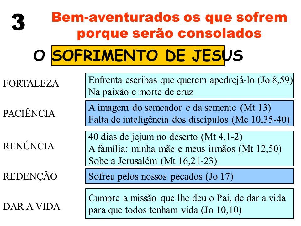 3 Bem-aventurados os que sofrem porque serão consolados O SOFRIMENTO DE JESUS FORTALEZA PACIÊNCIA RENÚNCIA REDENÇÃO DAR A VIDA Enfrenta escribas que q
