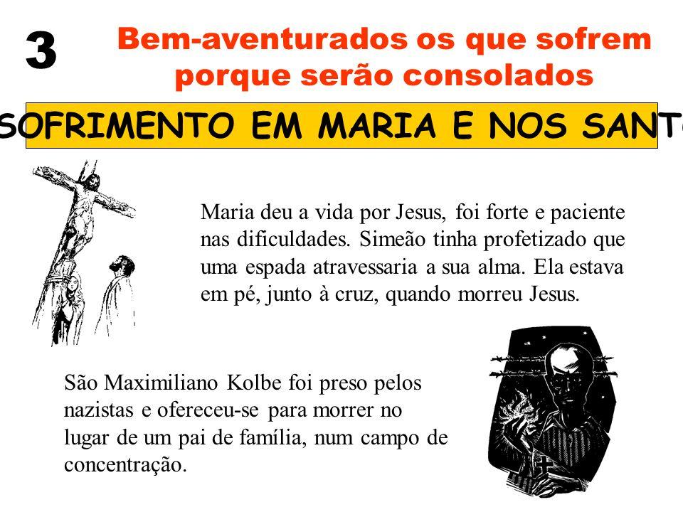3 Bem-aventurados os que sofrem porque serão consolados O SOFRIMENTO EM MARIA E NOS SANTOS Maria deu a vida por Jesus, foi forte e paciente nas dificu