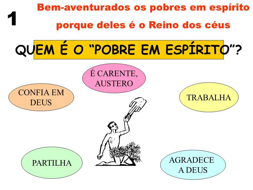 Bem-aventurados os pobres em espírito porque deles é o Reino dos céus 1 JESUS, O POBRE CARENTE CONFIANTE EM DEUS TRABALHADOR AGRADECE A DEUS SOLIDÁRIO nasce pobre (Lc 2,7-20) vive pobre (Mt 8,18-20) morre pobre (Jo 19,23-24) Não só de pão vive o homem (Mt 4,4) Olhai os pássaros do céu...