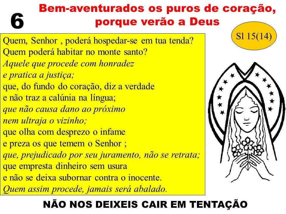 6 Bem-aventurados os puros de coração, porque verão a Deus Quem, Senhor, poderá hospedar-se em tua tenda? Quem poderá habitar no monte santo? Aquele q