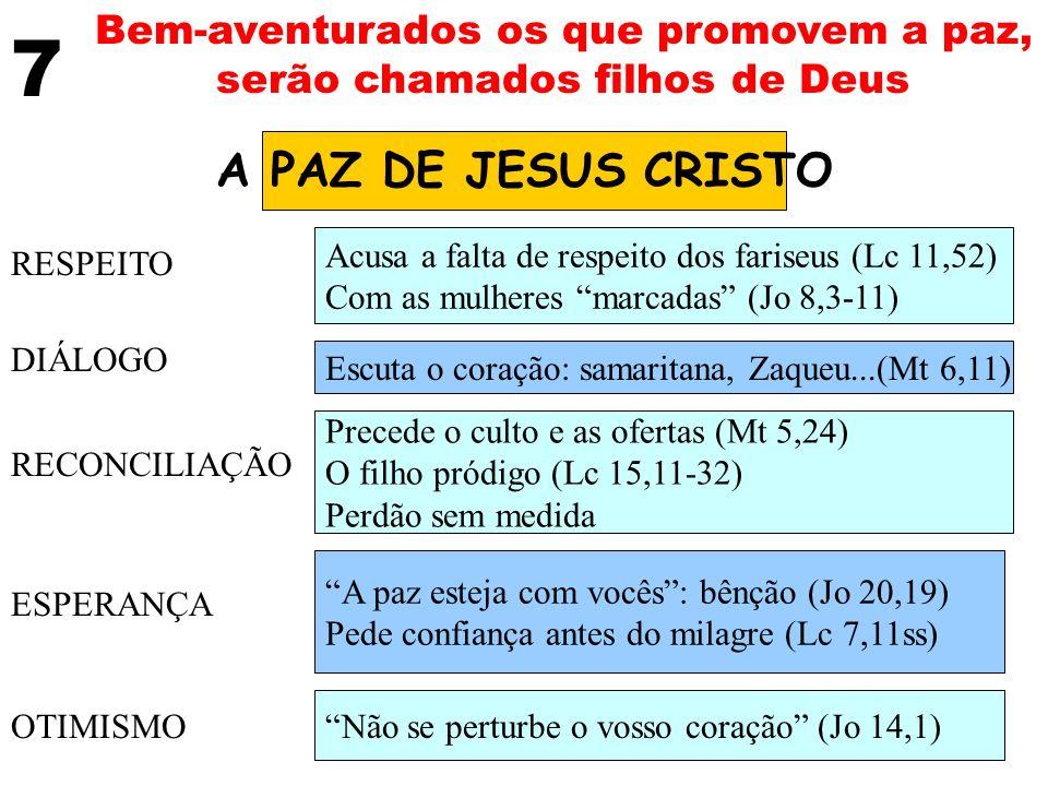 7 Bem-aventurados os que promovem a paz, serão chamados filhos de Deus A PAZ DE JESUS CRISTO RESPEITO DIÁLOGO RECONCILIAÇÃO ESPERANÇA OTIMISMO Acusa a