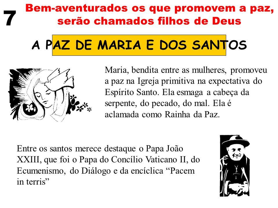 7 Bem-aventurados os que promovem a paz, serão chamados filhos de Deus A PAZ DE MARIA E DOS SANTOS Maria, bendita entre as mulheres, promoveu a paz na