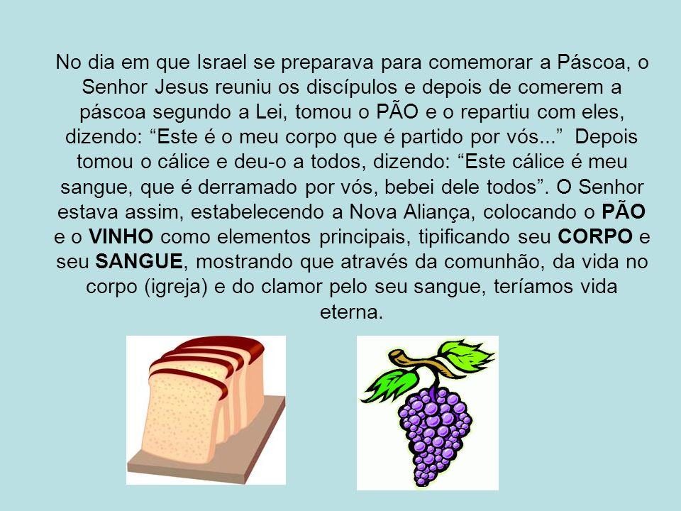 No dia em que Israel se preparava para comemorar a Páscoa, o Senhor Jesus reuniu os discípulos e depois de comerem a páscoa segundo a Lei, tomou o PÃO