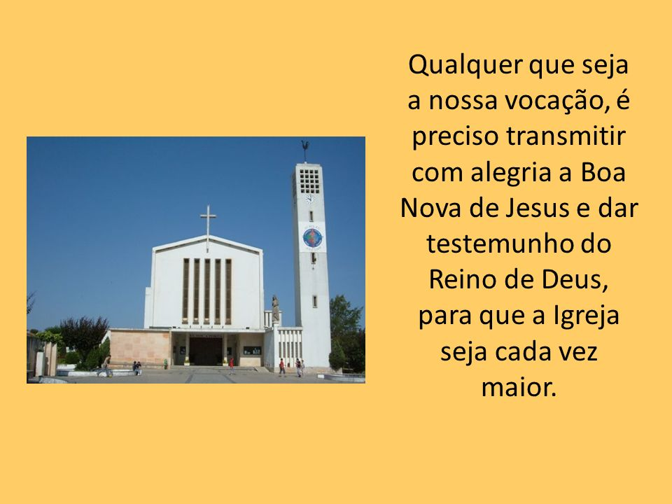 Qualquer que seja a nossa vocação, é preciso transmitir com alegria a Boa Nova de Jesus e dar testemunho do Reino de Deus, para que a Igreja seja cada