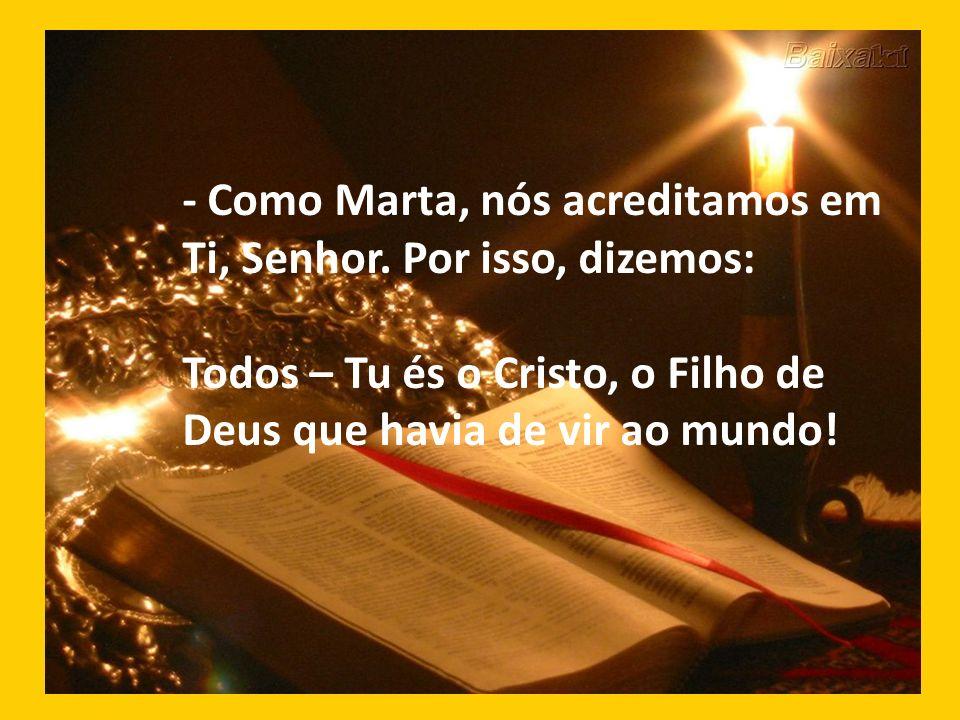 - Como Marta, nós acreditamos em Ti, Senhor. Por isso, dizemos: Todos – Tu és o Cristo, o Filho de Deus que havia de vir ao mundo!