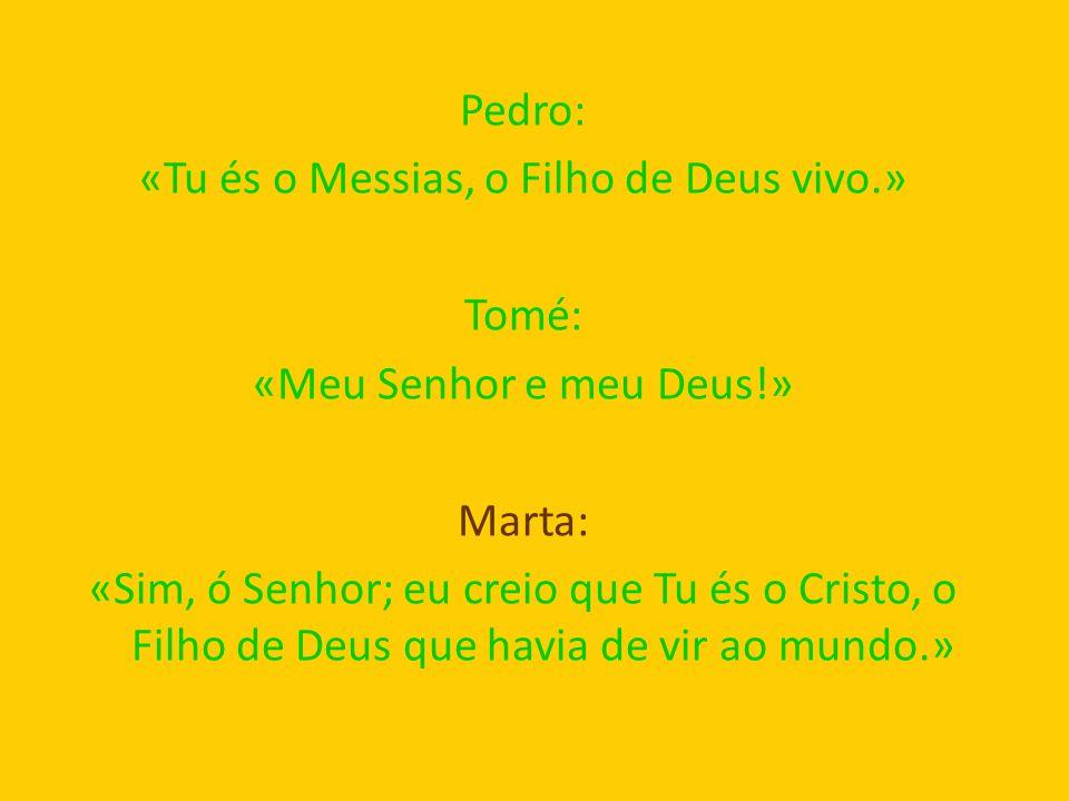 Pedro: «Tu és o Messias, o Filho de Deus vivo.» Tomé: «Meu Senhor e meu Deus!» Marta: «Sim, ó Senhor; eu creio que Tu és o Cristo, o Filho de Deus que