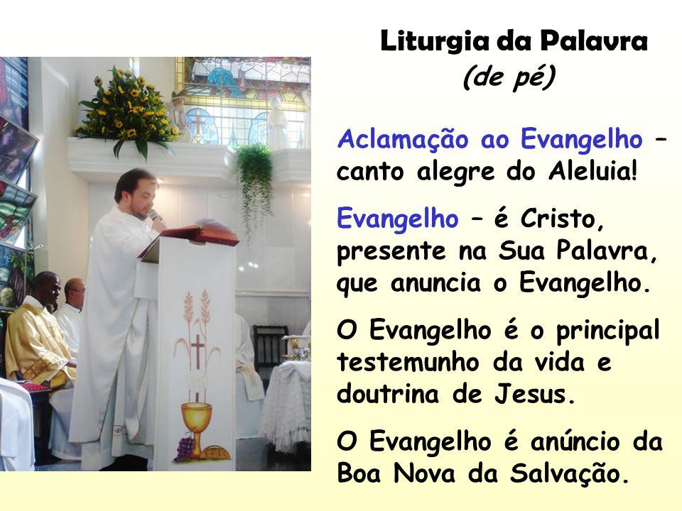 Liturgia da Palavra Aclamação ao Evangelho – canto alegre do Aleluia! Evangelho – é Cristo, presente na Sua Palavra, que anuncia o Evangelho. O Evange