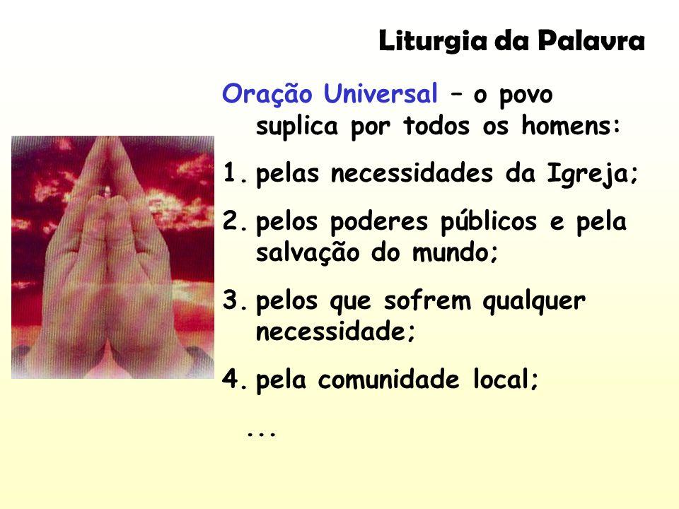 Oração Universal – o povo suplica por todos os homens: 1.pelas necessidades da Igreja; 2.pelos poderes públicos e pela salvação do mundo; 3.pelos que