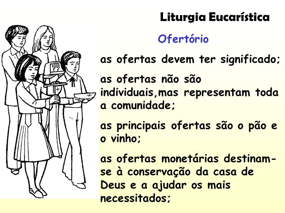 Liturgia Eucarística Ofertório as ofertas devem ter significado; as ofertas não são individuais,mas representam toda a comunidade; as principais ofert