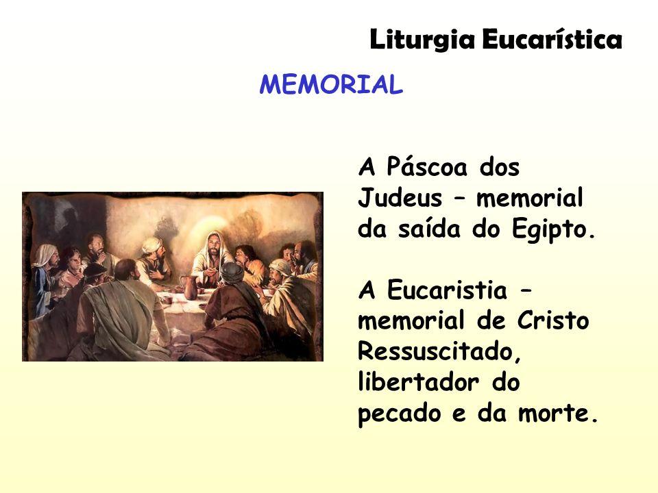 MEMORIAL Liturgia Eucarística A Páscoa dos Judeus – memorial da saída do Egipto. A Eucaristia – memorial de Cristo Ressuscitado, libertador do pecado