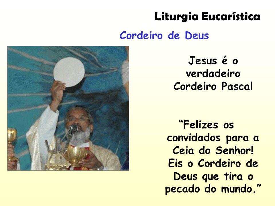 Liturgia Eucarística Cordeiro de Deus Jesus é o verdadeiro Cordeiro Pascal Felizes os convidados para a Ceia do Senhor! Eis o Cordeiro de Deus que tir