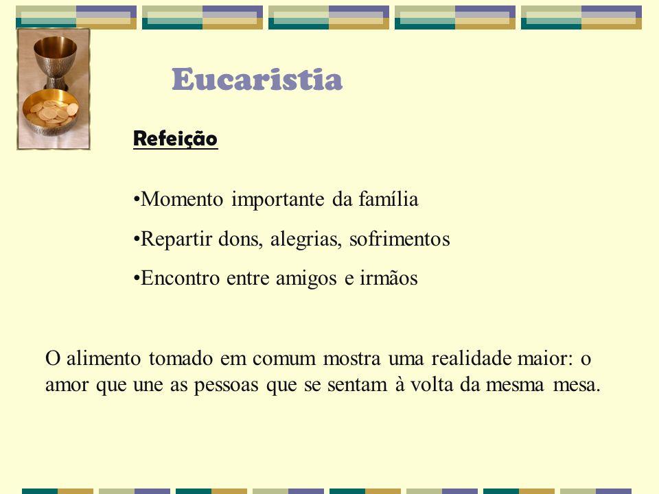 Eucaristia Jesus institui a Eucaristia dentro de uma refeição Mt 26, 20-29 Mr 14, 22-25 Lc, 22, 7-22 Oferece alimento aos que ama e dá-se como comida e bebida sagradas aos que O amam.