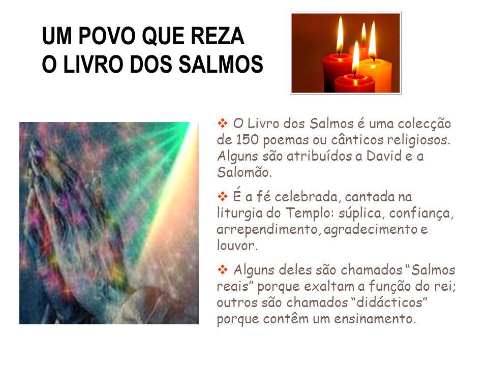 UM POVO QUE REZA O LIVRO DOS SALMOS O Livro dos Salmos é uma colecção de 150 poemas ou cânticos religiosos. Alguns são atribuídos a David e a Salomão.