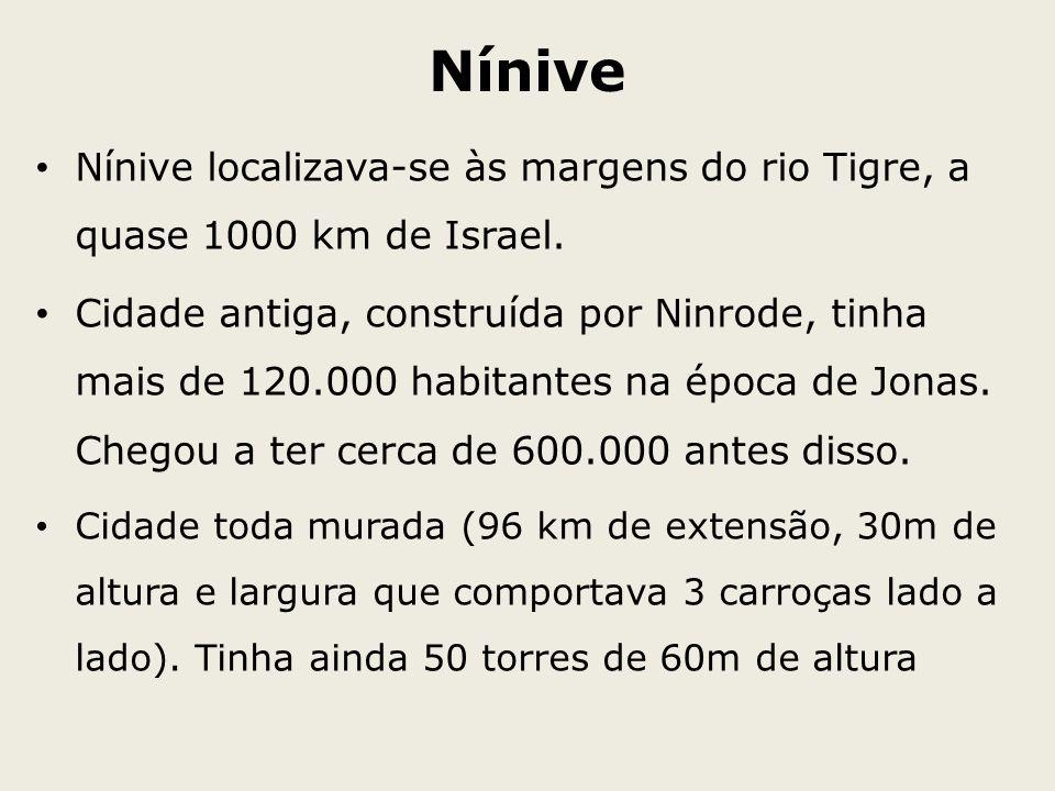 Nínive Nínive localizava-se às margens do rio Tigre, a quase 1000 km de Israel. Cidade antiga, construída por Ninrode, tinha mais de 120.000 habitante