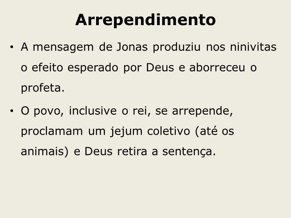Arrependimento A mensagem de Jonas produziu nos ninivitas o efeito esperado por Deus e aborreceu o profeta. O povo, inclusive o rei, se arrepende, pro
