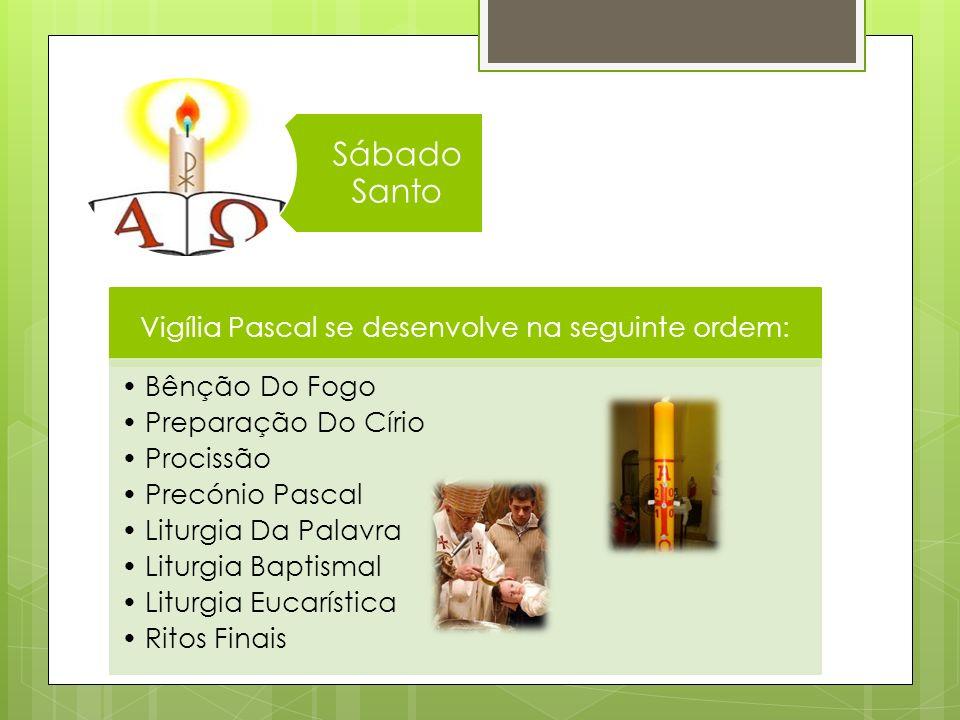 Vigília Pascal se desenvolve na seguinte ordem: Bênção Do Fogo Preparação Do Círio Procissão Precónio Pascal Liturgia Da Palavra Liturgia Baptismal Li