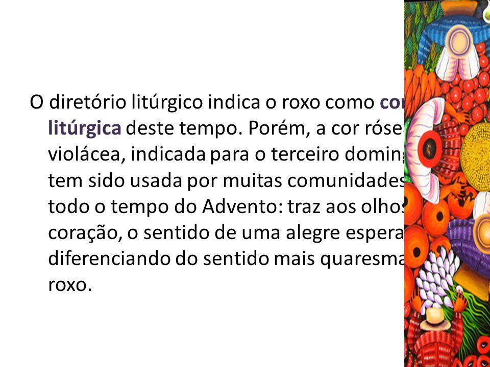 O diretório litúrgico indica o roxo como cor litúrgica deste tempo. Porém, a cor rósea ou violácea, indicada para o terceiro domingo, tem sido usada p