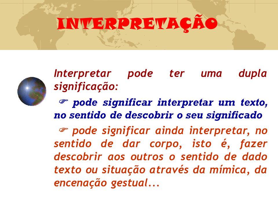 INTERPRETAÇÃO Interpretar pode ter uma dupla significação: pode significar interpretar um texto, no sentido de descobrir o seu significado pode signif