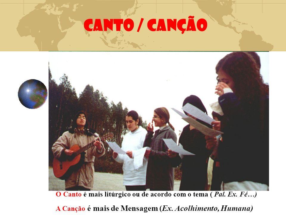 CANTO / CANÇÃO O Canto é mais litúrgico ou de acordo com o tema ( Pal. Ex. Fé…) A Canção é mais de Mensagem (Ex. Acolhimento, Humana)