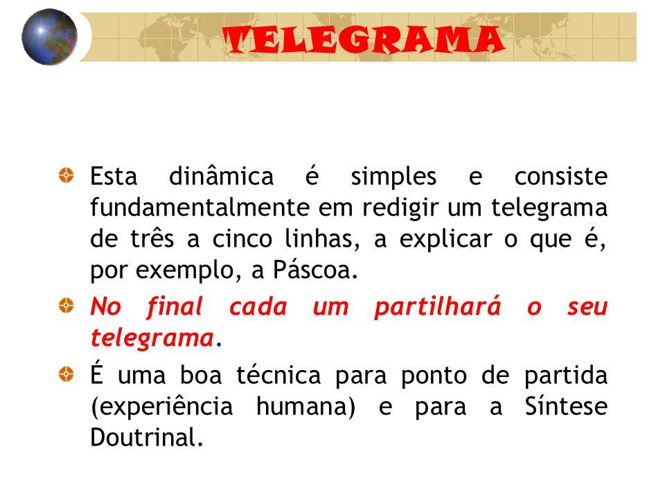 TELEGRAMA Esta dinâmica é simples e consiste fundamentalmente em redigir um telegrama de três a cinco linhas, a explicar o que é, por exemplo, a Pásco