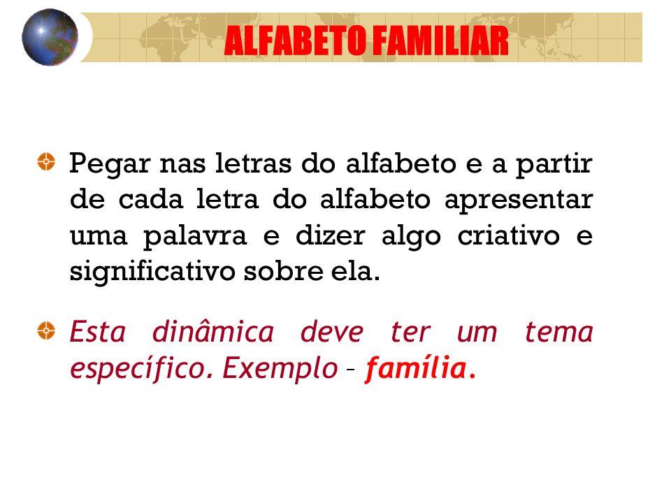 ALFABETO FAMILIAR Pegar nas letras do alfabeto e a partir de cada letra do alfabeto apresentar uma palavra e dizer algo criativo e significativo sobre