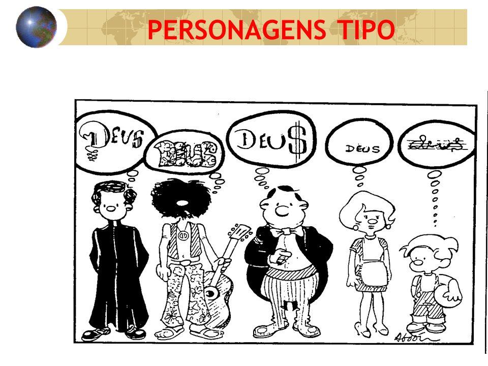 Apresentar uma gravura com personagens tipo e convidar os adolescentes a fazer a leitura destas personagens.