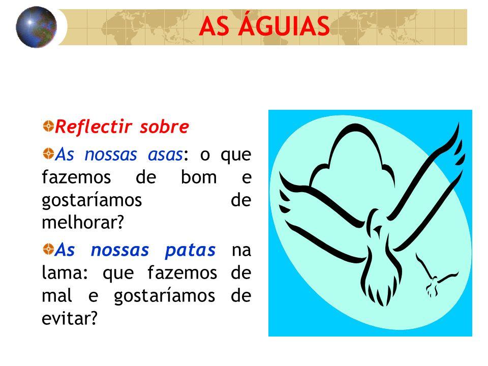 AS ÁGUIAS Reflectir sobre As nossas asas: o que fazemos de bom e gostaríamos de melhorar? As nossas patas na lama: que fazemos de mal e gostaríamos de