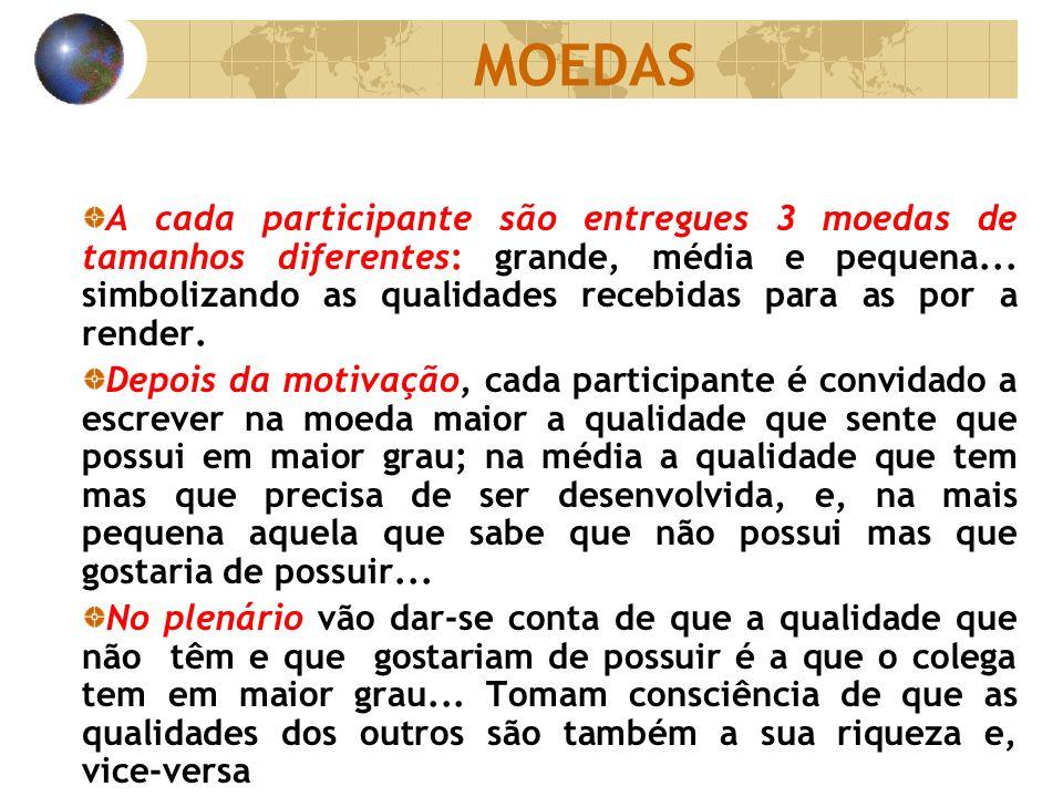 MOEDAS A cada participante são entregues 3 moedas de tamanhos diferentes: grande, média e pequena... simbolizando as qualidades recebidas para as por