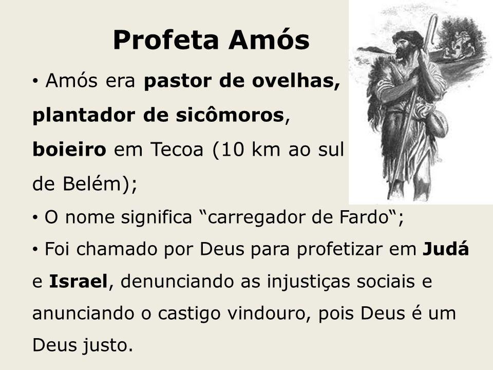 Profeta Amós Amós era pastor de ovelhas, plantador de sicômoros, boieiro em Tecoa (10 km ao sul de Belém); O nome significa carregador de Fardo; Foi c