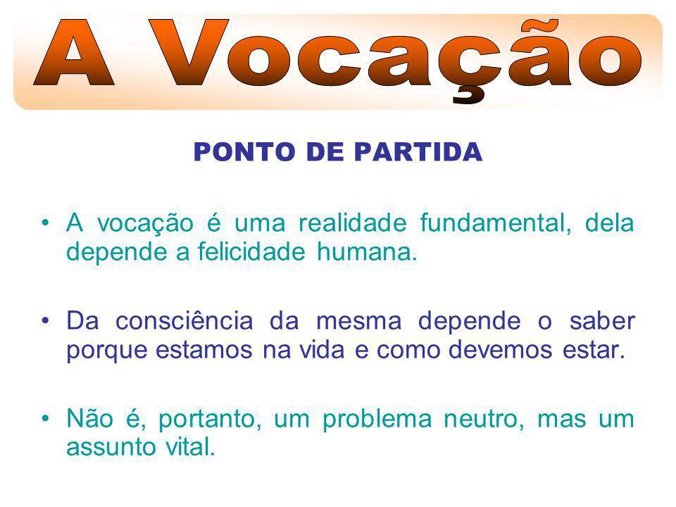 TUDO QUANTO EXISTE É RESPOSTA A UM CHAMAMENTO A palavra «vocação» (do verbo latino «vocare» = chamar) é uma das palavras carregadas de densidade e conteúdo.