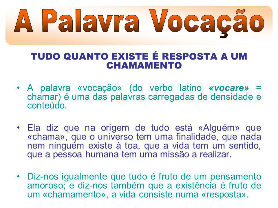 A Vocação é um chamamento de Deus e tem como finalidade a realização plena da pessoa humana.