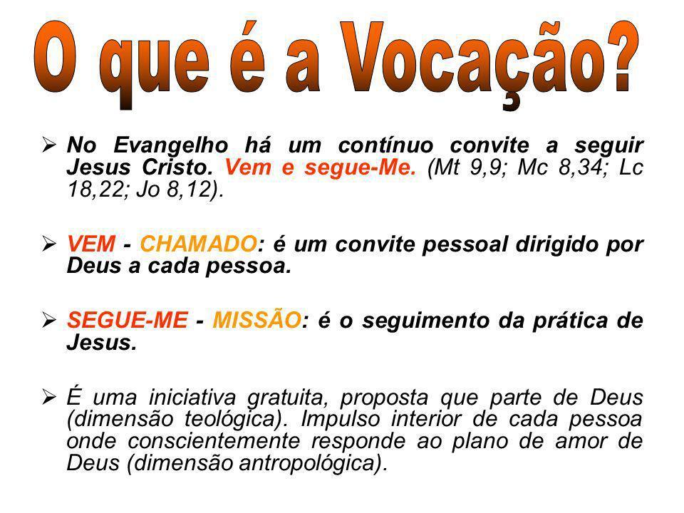 No Evangelho há um contínuo convite a seguir Jesus Cristo. Vem e segue-Me. (Mt 9,9; Mc 8,34; Lc 18,22; Jo 8,12). VEM - CHAMADO: é um convite pessoal d