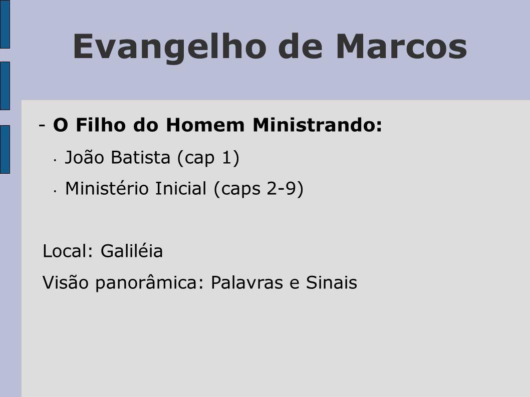 Evangelho de Marcos - O Filho do Homem Ministrando: João Batista (cap 1) Ministério Inicial (caps 2-9) Local: Galiléia Visão panorâmica: Palavras e Si