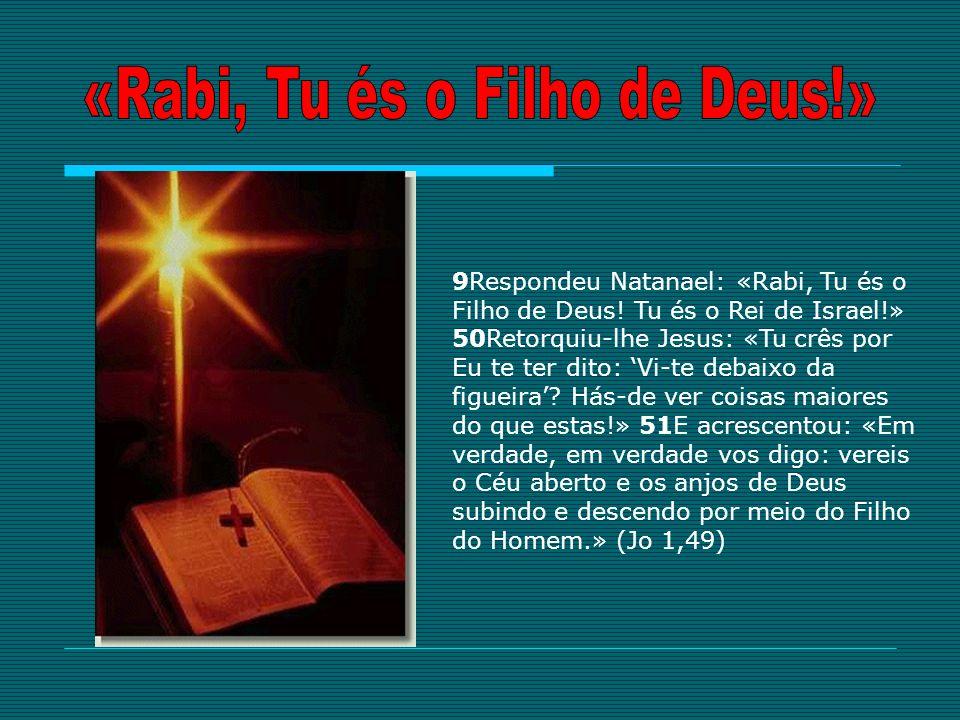 9Respondeu Natanael: «Rabi, Tu és o Filho de Deus! Tu és o Rei de Israel!» 50Retorquiu-lhe Jesus: «Tu crês por Eu te ter dito: Vi-te debaixo da figuei