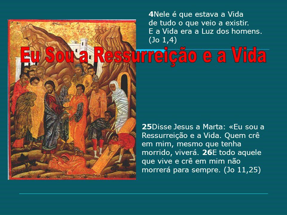 4Nele é que estava a Vida de tudo o que veio a existir. E a Vida era a Luz dos homens. (Jo 1,4) 25Disse Jesus a Marta: «Eu sou a Ressurreição e a Vida