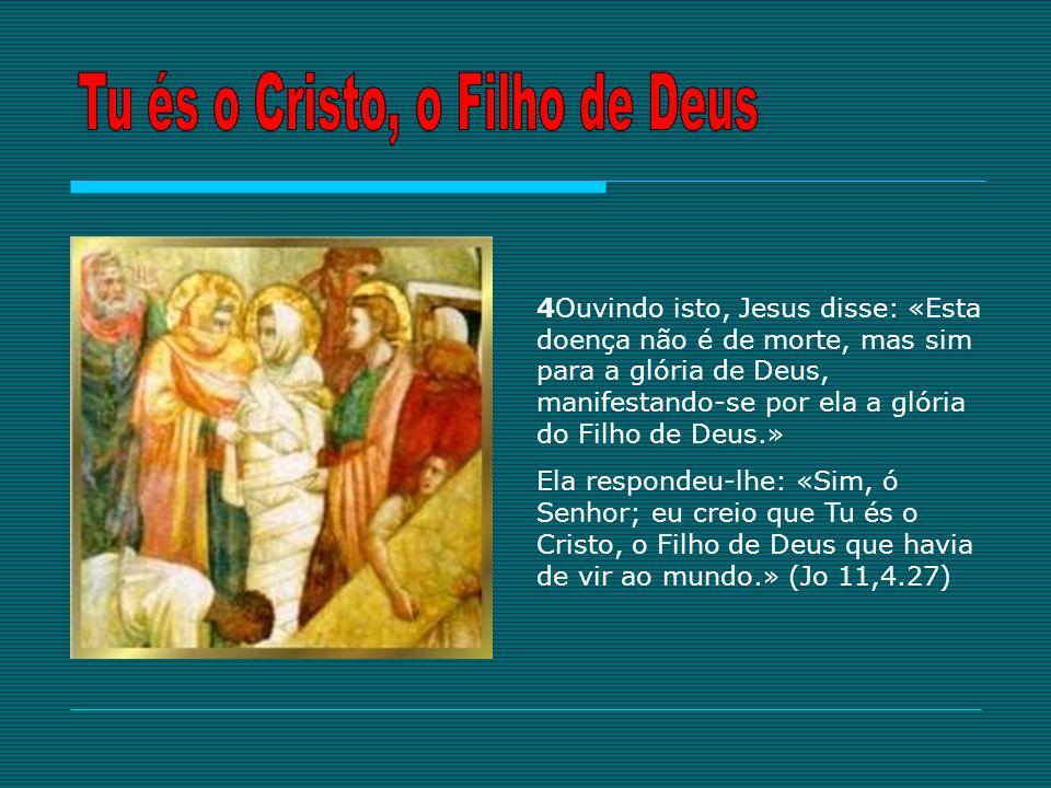 4Ouvindo isto, Jesus disse: «Esta doença não é de morte, mas sim para a glória de Deus, manifestando-se por ela a glória do Filho de Deus.» Ela respon