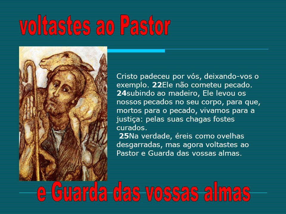 Cristo padeceu por vós, deixando-vos o exemplo. 22Ele não cometeu pecado. 24subindo ao madeiro, Ele levou os nossos pecados no seu corpo, para que, mo