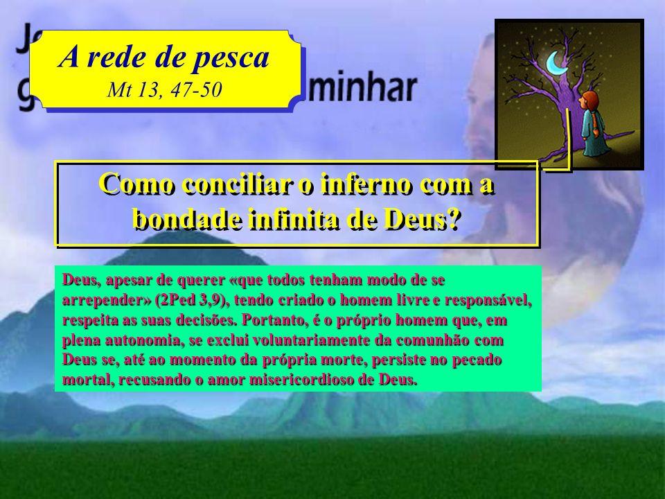 A rede de pesca Mt 13, 47-50 A rede de pesca Mt 13, 47-50 Em que é que consiste o inferno? Consiste na condenação eterna daqueles que, por escolha liv