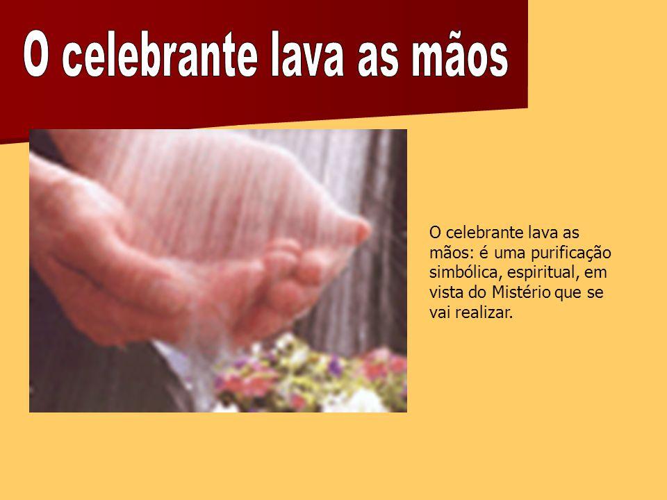 O celebrante lava as mãos: é uma purificação simbólica, espiritual, em vista do Mistério que se vai realizar.