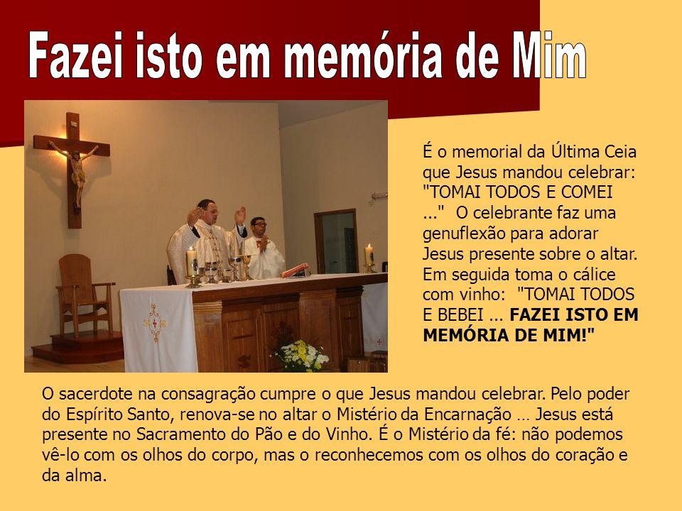 É o memorial da Última Ceia que Jesus mandou celebrar: TOMAI TODOS E COMEI... O celebrante faz uma genuflexão para adorar Jesus presente sobre o altar.