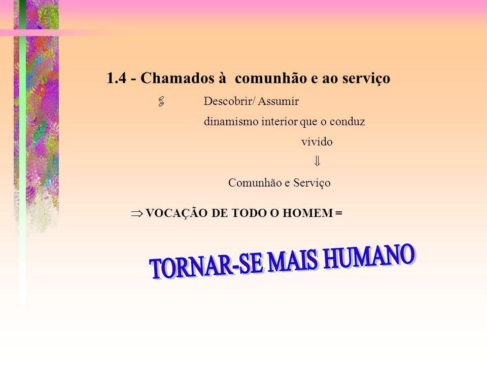 1.4 - Chamados à comunhão e ao serviço Descobrir/ Assumir dinamismo interior que o conduz vivido Comunhão e Serviço VOCAÇÃO DE TODO O HOMEM =