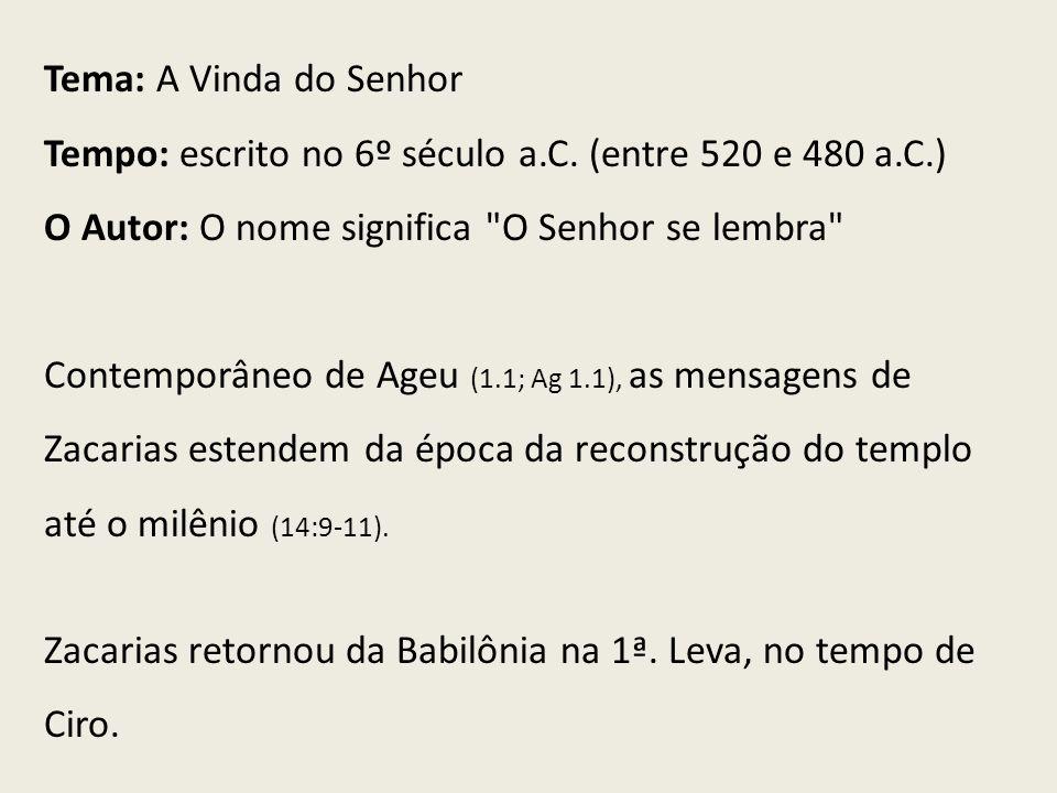 Tema: A Vinda do Senhor Tempo: escrito no 6º século a.C. (entre 520 e 480 a.C.) O Autor: O nome significa