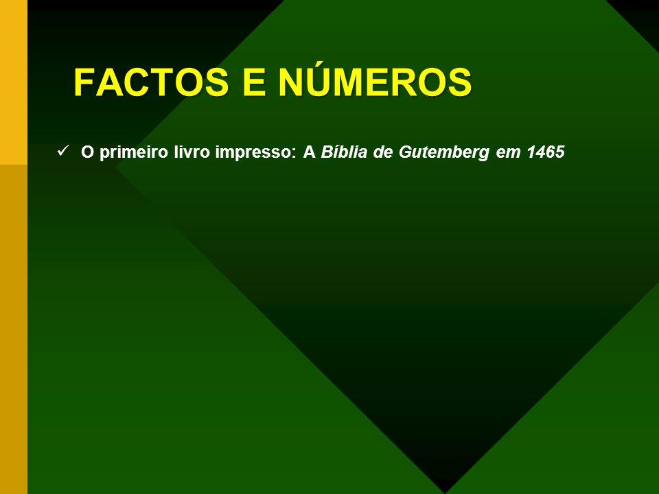 O primeiro livro impresso: A Bíblia de Gutemberg em 1465 Um dos exemplares da Bíblia impressa por Gutemberg alcançou em 1978 o valor de 1.125.000,00 (cerca de 250 mil contos) - o mais alto valor para um livro em leilão.