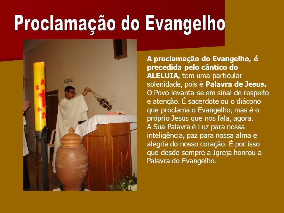 A proclamação do Evangelho, é precedida pelo cântico do ALELUIA, tem uma particular solenidade, pois é Palavra de Jesus. O Povo levanta-se em sinal de
