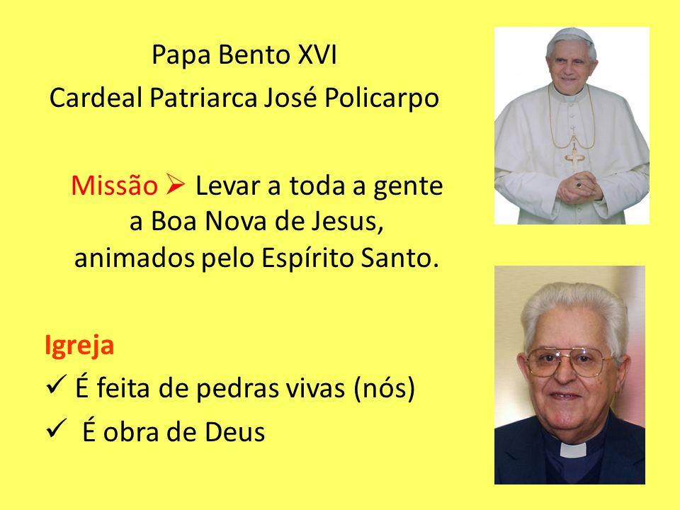 Papa Bento XVI Cardeal Patriarca José Policarpo Missão Levar a toda a gente a Boa Nova de Jesus, animados pelo Espírito Santo. Igreja É feita de pedra