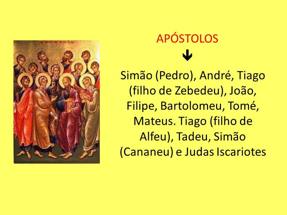 APÓSTOLOS Simão (Pedro), André, Tiago (filho de Zebedeu), João, Filipe, Bartolomeu, Tomé, Mateus. Tiago (filho de Alfeu), Tadeu, Simão (Cananeu) e Jud