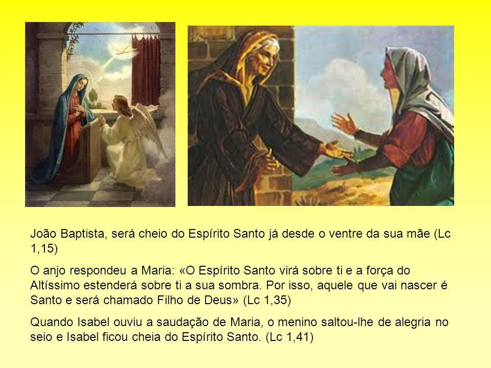 João Baptista, será cheio do Espírito Santo já desde o ventre da sua mãe (Lc 1,15) O anjo respondeu a Maria: «O Espírito Santo virá sobre ti e a força