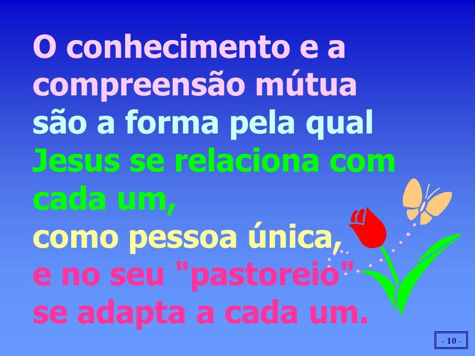 - 10 - O conhecimento e a compreensão mútua são a forma pela qual Jesus se relaciona com cada um, como pessoa única, e no seu